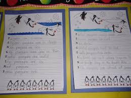 patties classroom penguin acrostics and penguin footprint art