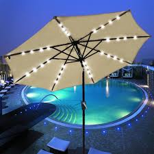 Patio Umbrellas With Led Lights by 9 Foot Patio Led Solar Light Umbrella Tan The Diy Outlet