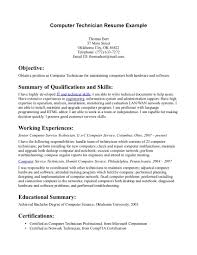resume objective for technician computer technician resumes dottiehutchins com ideas collection computer technician resumes also resume sample