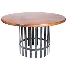 hammered copper dining table ashton iron dining table with 54 round hammered copper top