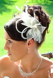 hair fascinator wedding flower hair comb with feathers ivory hair fascinator