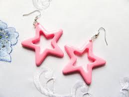 80s earrings big kawaii 80s style pink earrings earrings kawaii
