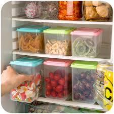 organization bins kitchen transparent sealed cans cover plastic candy food organizer
