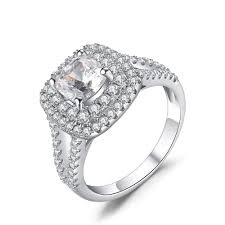 circle engagement ring cut white sapphire 925 sterling silver engagement ring