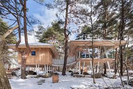 one year project forest house built on stilts to withstand snow