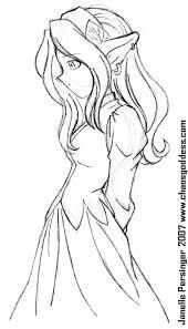 elf in dress pen sketch by thelegendaryhuggbees on deviantart