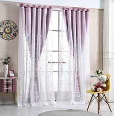 Curtains For Sale Purple Floral Print And Embroidery Elegant Polyester Curtains For
