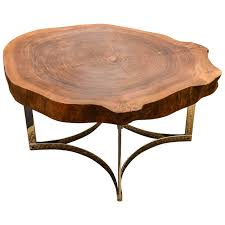 live edge round table live edge table on modernist chrome base for sale at 1stdibs