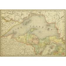 Map Of Michigan Lakes Map Michigan Peninsula 1887 Mapsandart Original Art