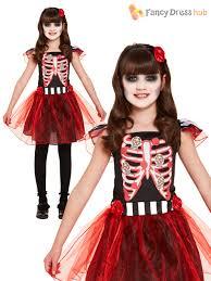 Scary Boy Halloween Costumes Girls Red Skeleton Costume Childs Kids Halloween Fancy Dress