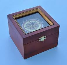 engravable box engravable nautical compass boxed clock