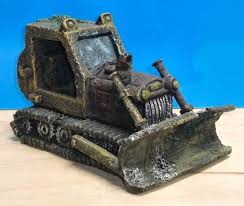 bulldozer large wreck aquarium ornament fish tank bowl decoration
