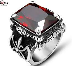 man steel rings images Nfs punk real stainless steel red stone ring men 39 s 13kt big red jpg