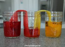 walking water science experiment for kids coffee cups and crayons