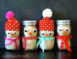 playdough snowman in a mason jar playdough to plato