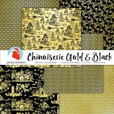 chinoiserie digital paper gold u0026 black chinese patterns french