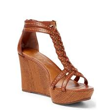pink pony studded calfskin wedge sandal in brown lyst