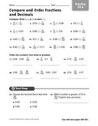 ordering fractions and decimals from least to greatest worksheet
