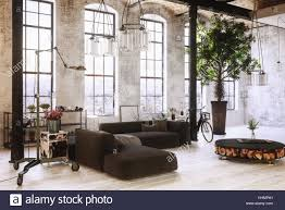 large spacious converted industrial loft interior with tall arched