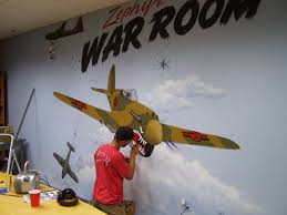 eric johnson draws zephyr walls part 3 flying tiger war room mural then i got started by painting the clouds first and then the planes