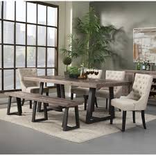 dining room tables with benches and chairs dining table with bench set wayfair