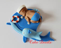 whale baby shower cake whale baby shower fondant sleeping baby cake topper nautical