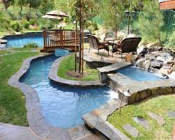 pool area ideas small backyard lazy river pool design with stone liner and lounge