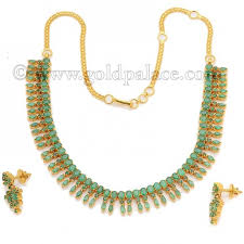 emerald gold necklace images Gold necklace and earring set with emerald 22k gold palace jpg