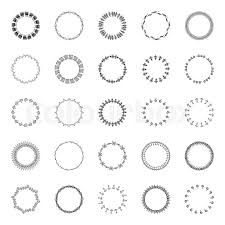 circular borders ornaments on a white background set of vector