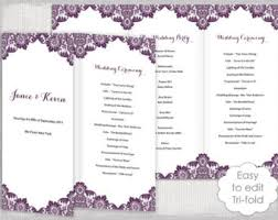 tri fold wedding programs trifold program etsy