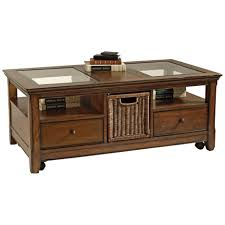 furniture glass top wooden coffee table with two drawers and