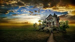 beautiful halloween background houses haunted house stretched halloween clouds sky nature