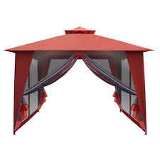 Patio Gazebo 10 X 10 Roof Waterproof Polyester Patio Gazebo With Mesh Netting