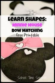 free minnie mouse bow matching shape sorting printable game