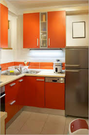 elegant straight shape modern kitchen come with orange color gloss