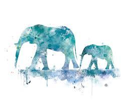 elephant family art print elephant painting baby elephant