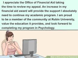 3 ways to write a letter for financial aid wikihow