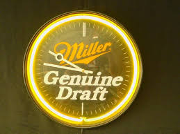 light up beer signs miller genuine draft beer light up clock beer signs auction 60