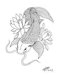 Japanese Fish Flag Japanese Fish And Lotus Flower Tattoo Outline On Paper