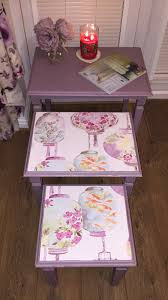 upcycled nest of tables painted in a mix of annie sloan emile