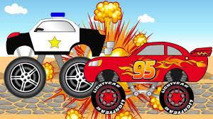 lightning mcqueen monster truck videos lightning mcqueen monster truck epic chase with police cars 3