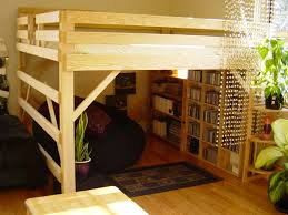 How To Build A Bunk Bed Frame Unique Bedroom Set With Wooden Loft Bed Frame Bookcase Loft