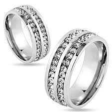 stainless steel wedding bands arh9883 stainless steel his or hers lined cubic zirconia