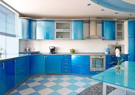 blue cabinets in kitchen blue kitchen design with white tile backsplash furnished with gray