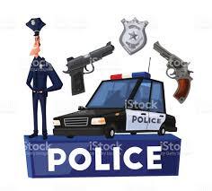 policeman character and police car cartoon vector illustration