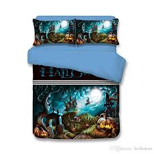 halloween wizard castle grave pumpkin lantern teen bedding sets