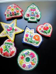 handmade vintage stuffed felt embroidered ornaments cat