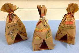 paper bag tepees native american art symbols 1st grade art