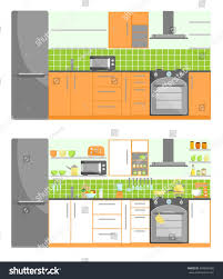 colorful kitchen furniture vector stock vector 429836908
