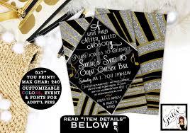 Gatsby Invitations Great Gatsby Invitation Sweet 16 Printable The Great Gatsby